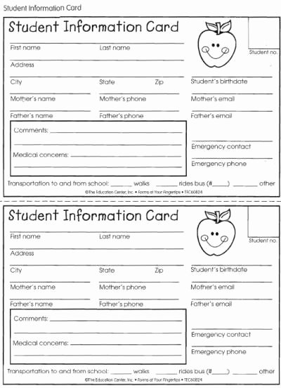 Printable Emergency Contact Card Unique Student Information Card Lovetoteach