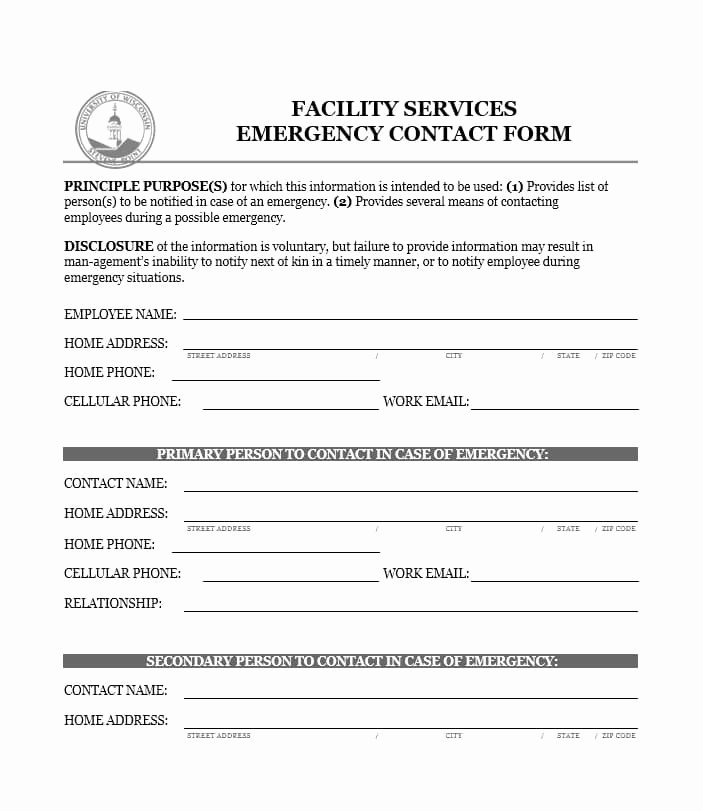 Printable Emergency Contact form Awesome 54 Free Emergency Contact forms [employee Student]