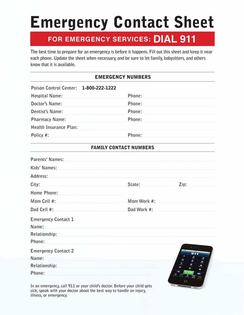 Printable Emergency Contact form Awesome Emergency Contact Sheet