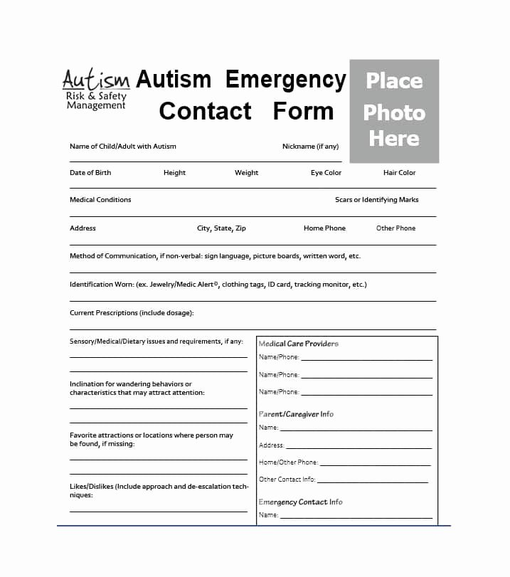 Printable Emergency Contact form Beautiful 54 Free Emergency Contact forms [employee Student]