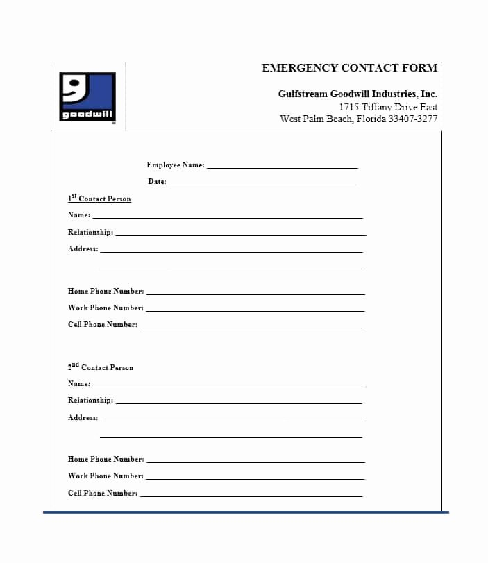 Printable Emergency Contact form Elegant 54 Free Emergency Contact forms [employee Student]