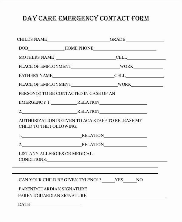 Printable Emergency Contact form Elegant 8 Sample Emergency Contact forms Pdf Doc