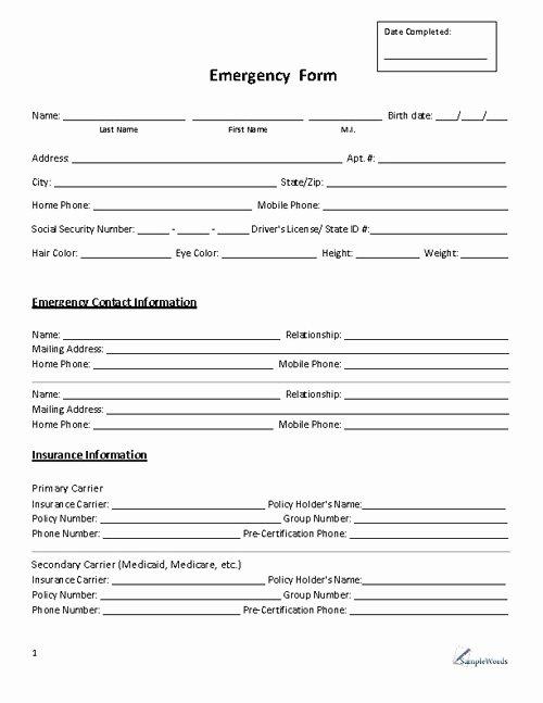 Printable Emergency Contact form Elegant Emergency Contact form Premium