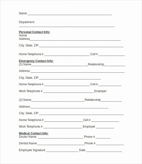 Printable Emergency Contact form Elegant Emergency Contact forms 11 Download Free Documents In