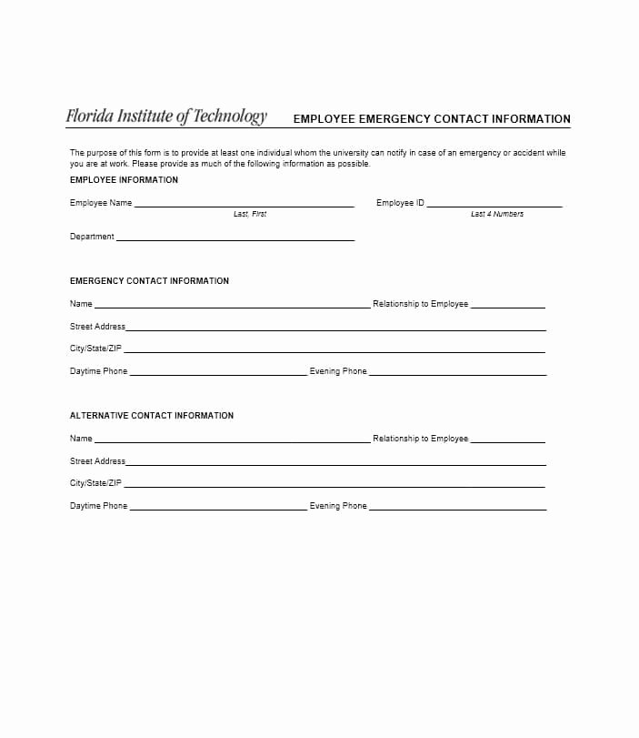 Printable Emergency Contact form Fresh 54 Free Emergency Contact forms [employee Student]