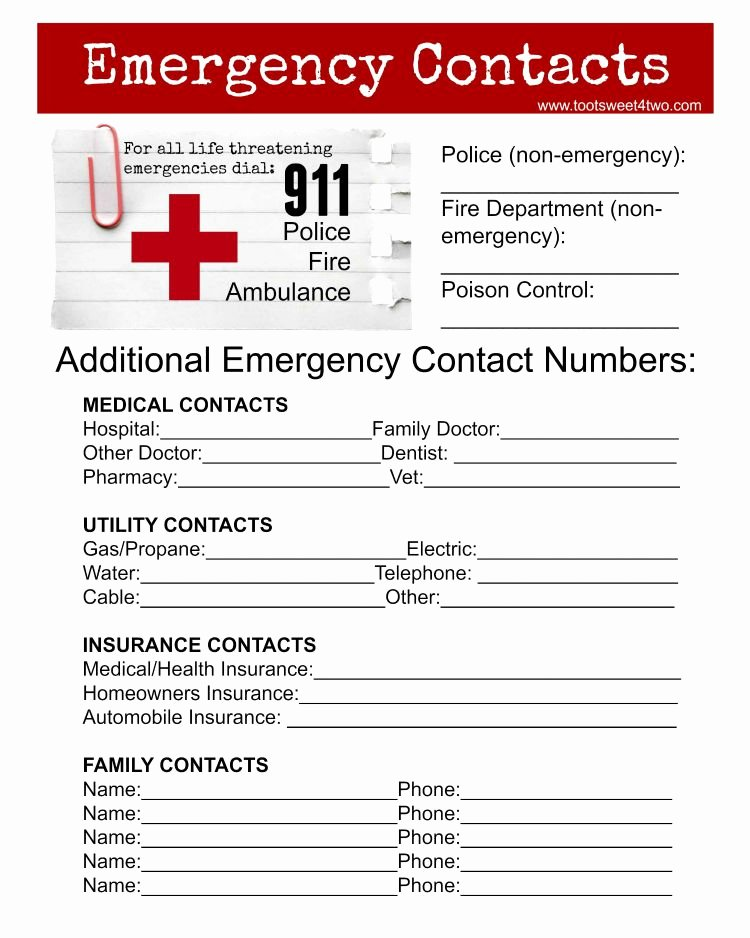 Printable Emergency Contact form Fresh Emergency Contact Sheet are You Ready toot Sweet 4 Two