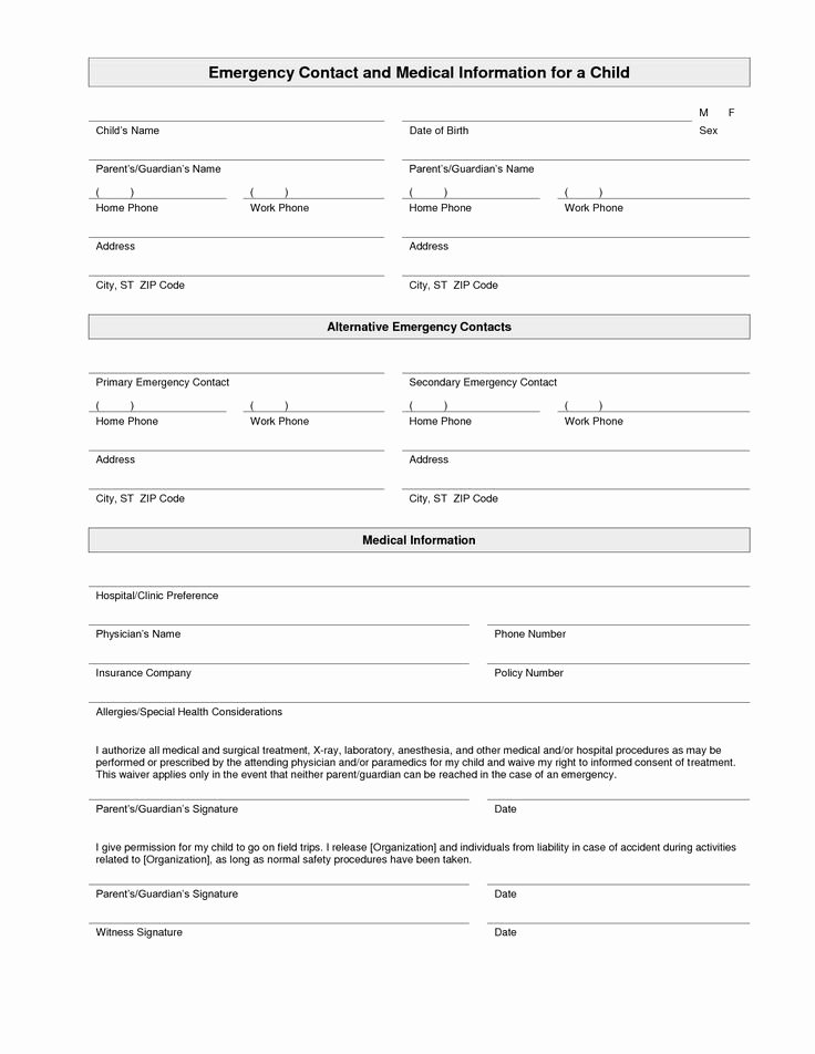 Printable Emergency Contact form Inspirational Printable Emergency Contact form Template
