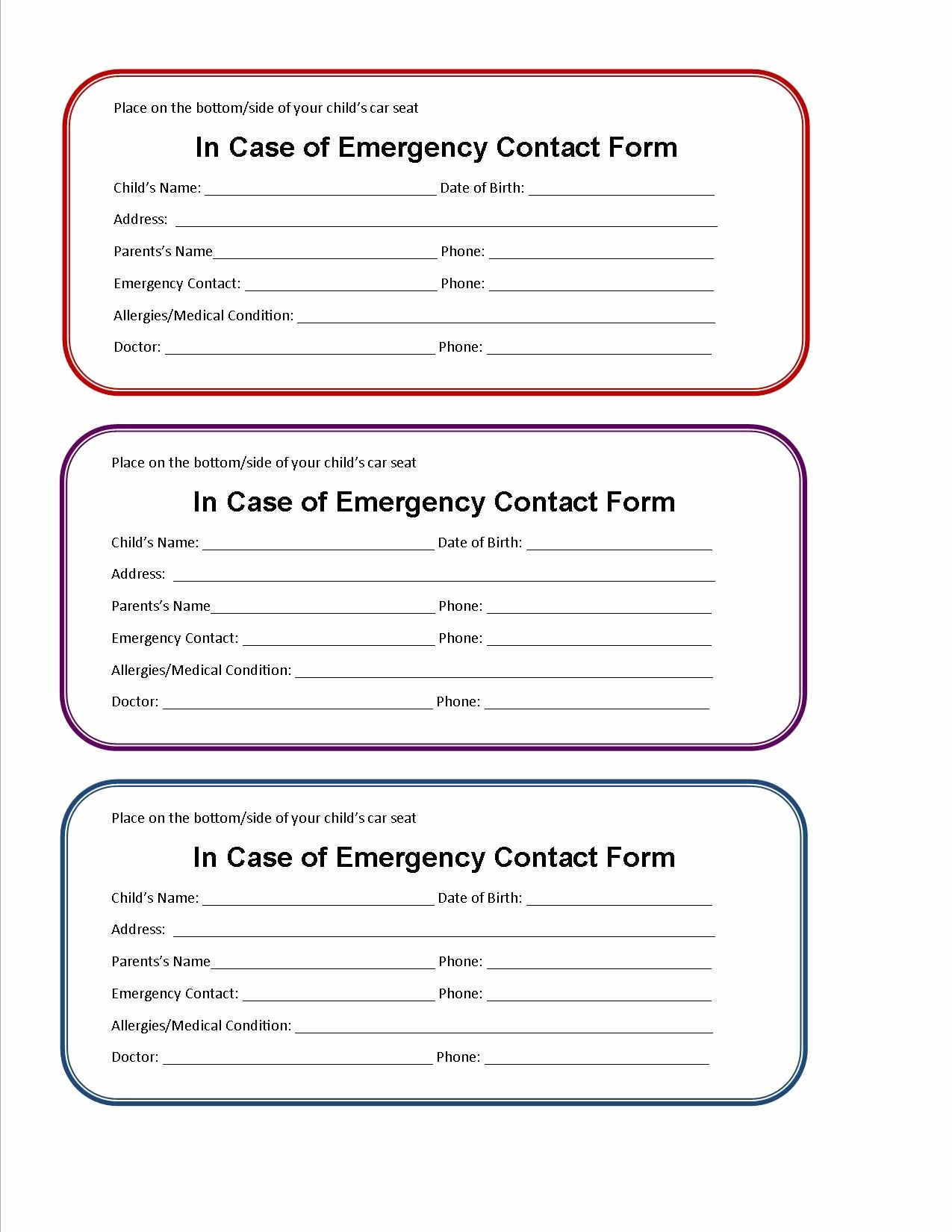 Printable Emergency Contact form Lovely Printable Emergency Contact form for Car Seat