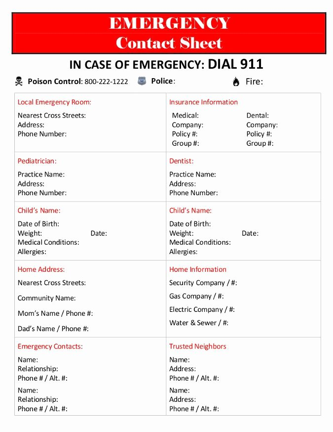 Printable Emergency Contact form Luxury Emergency Contact Sheet Places to Visit