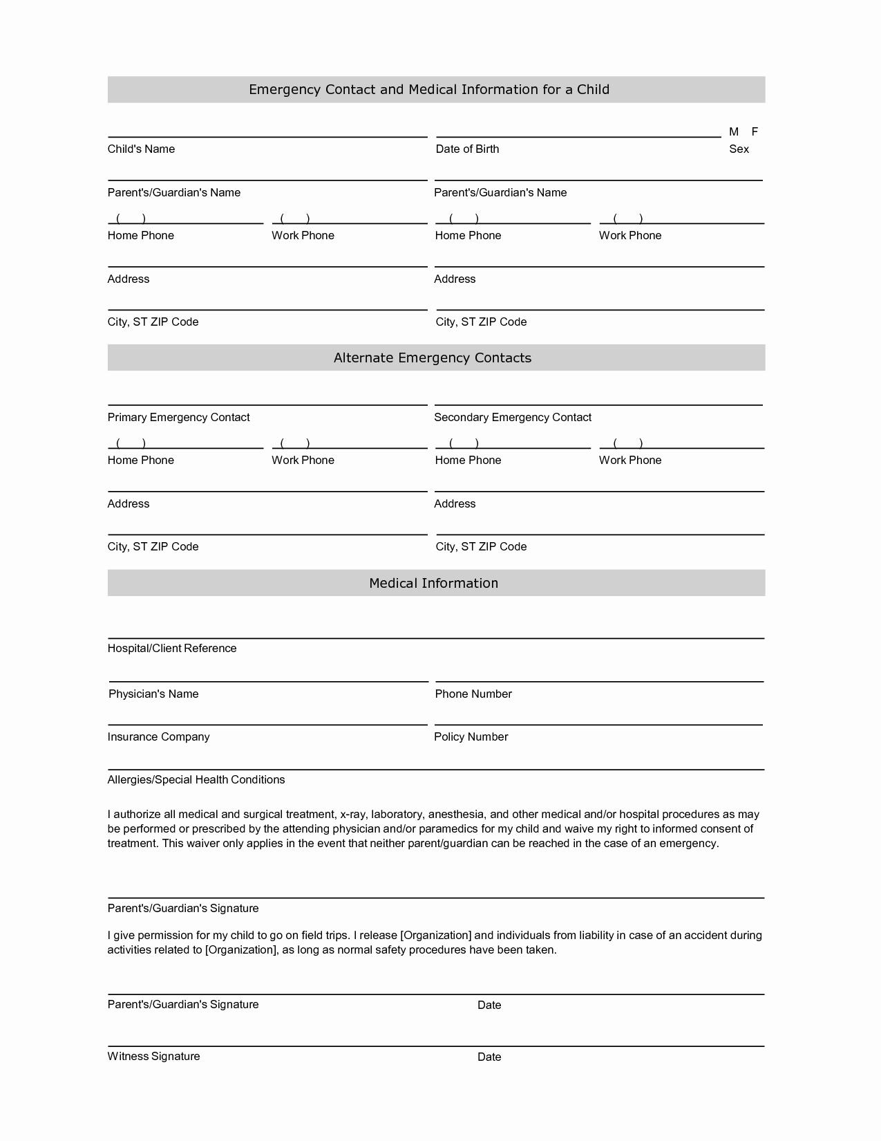 Printable Emergency Contact form Luxury Employee Emergency Contact Printable form to Pin