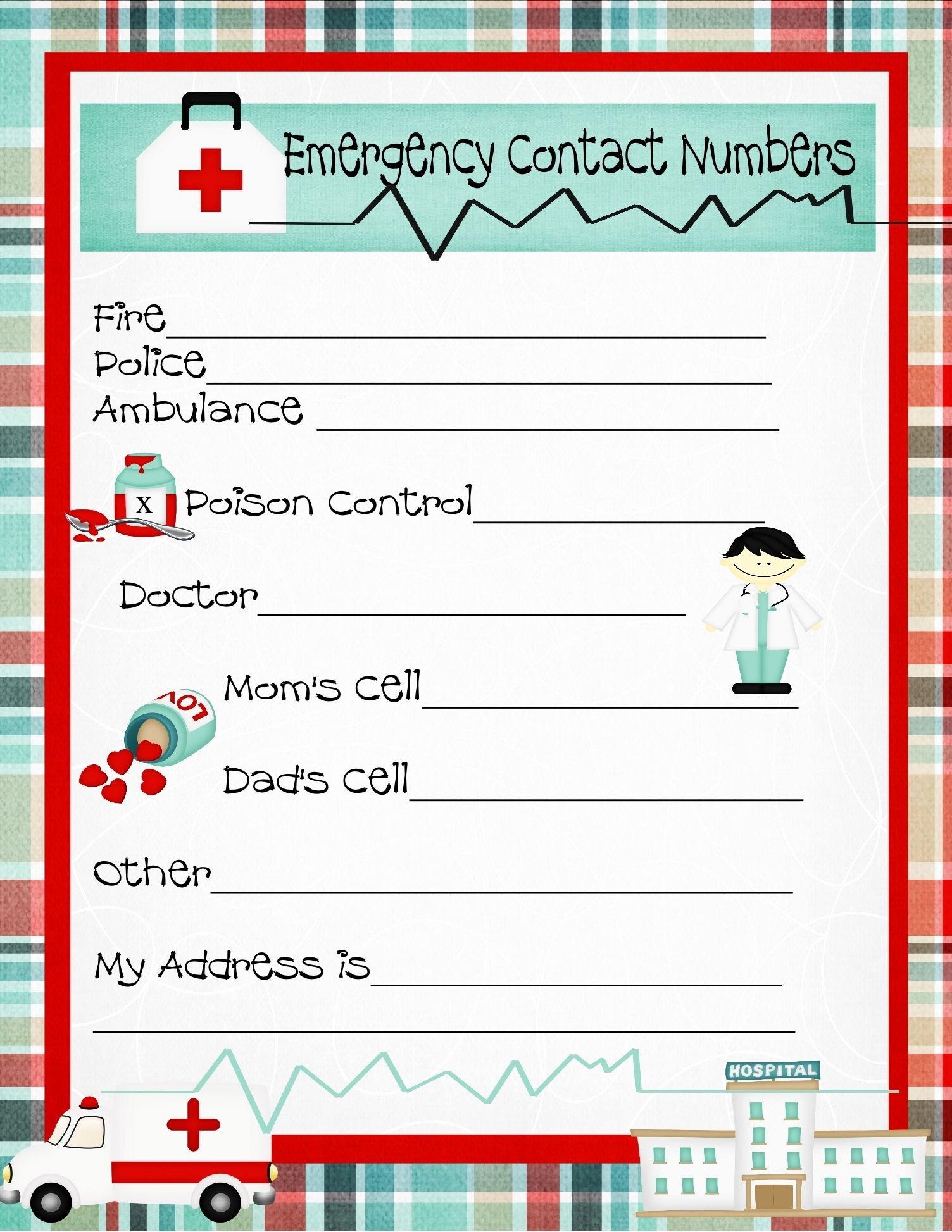 Printable Emergency Contact form New Emergency Numbers Printable