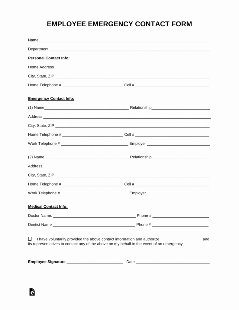 Printable Emergency Contact form New Free Employee Emergency Contact form Pdf Word
