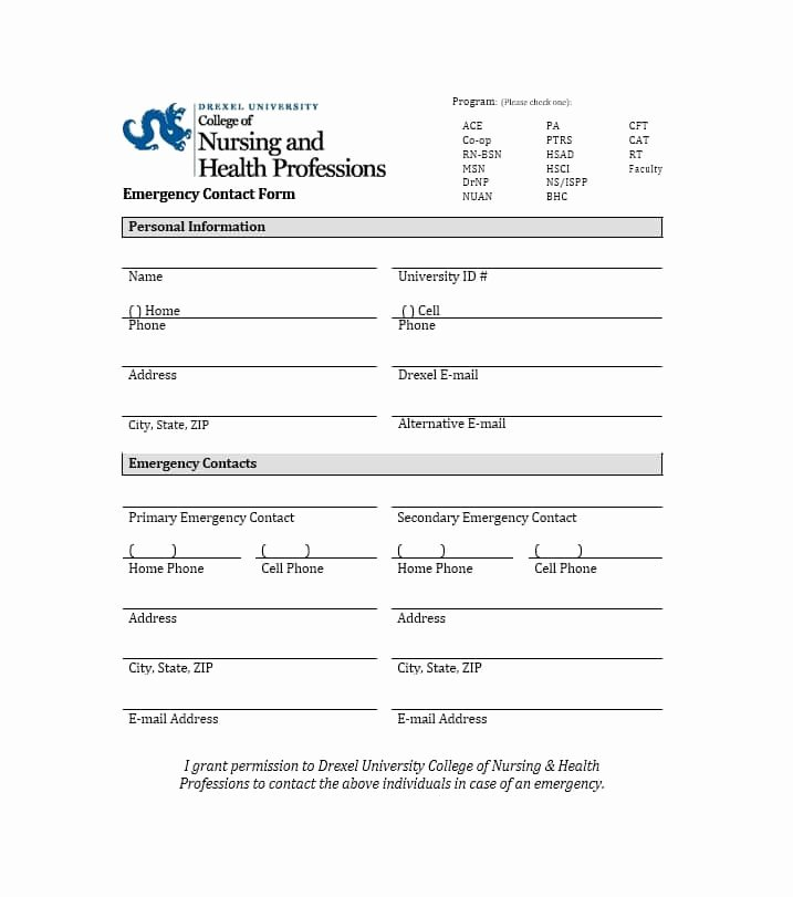 Printable Emergency Contact form Unique 54 Free Emergency Contact forms [employee Student]