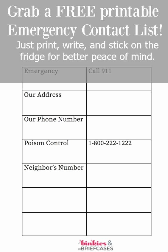 Printable Emergency Contact List Awesome Pinterest • the World's Catalog Of Ideas
