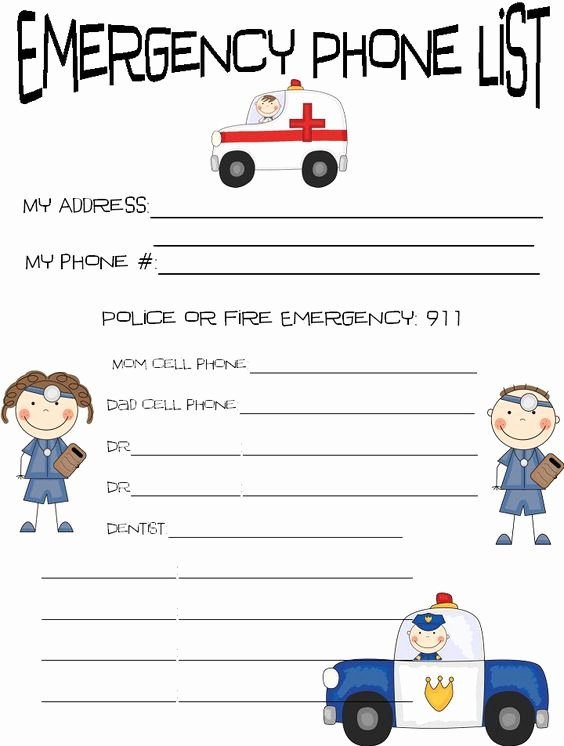 Printable Emergency Contact List Beautiful Printable Emergency Contact Sheet Kids