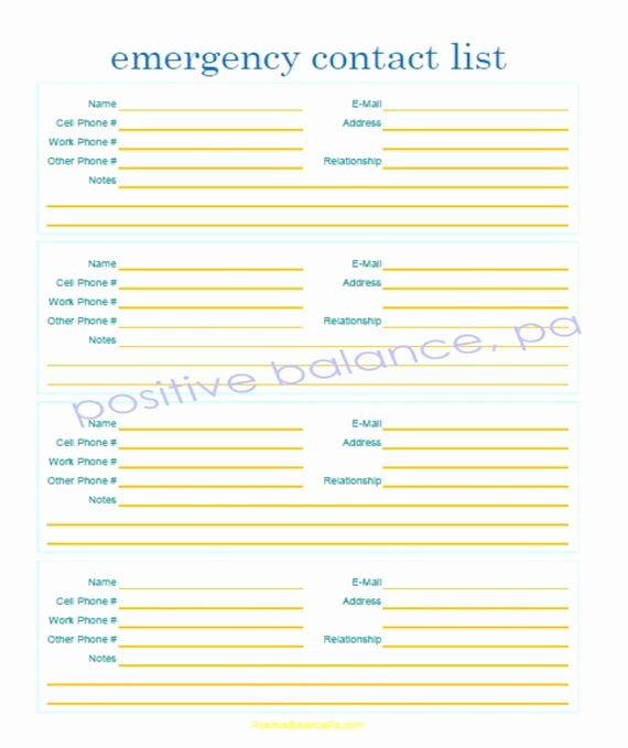 Printable Emergency Contact List Elegant Items Similar to Printable Emergency Contact List On Etsy