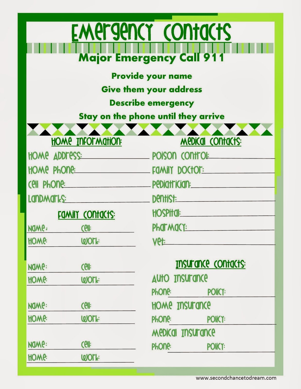 Printable Emergency Contact List Elegant Second Chance to Dream Free Printable Planner In Two
