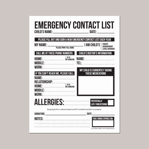 emergency contact form for nanny