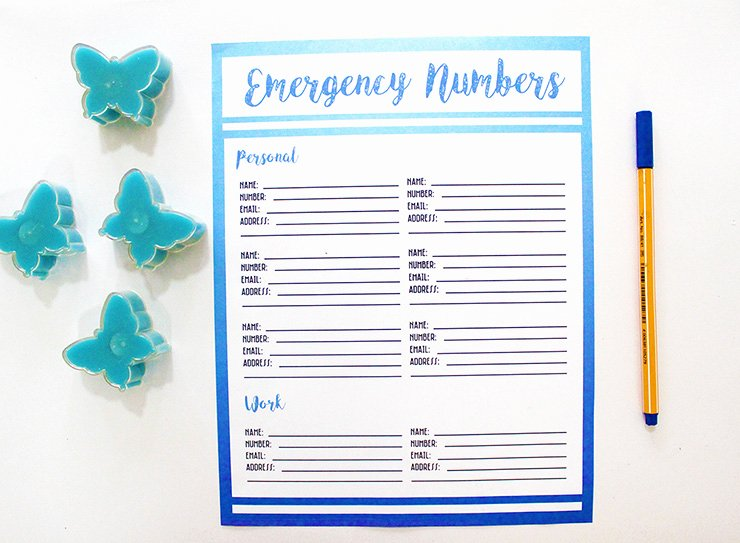 Printable Emergency Contact List Fresh Free Printable Emergency Contact List