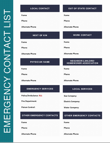 Printable Emergency Contact List Luxury Emergency Contact List