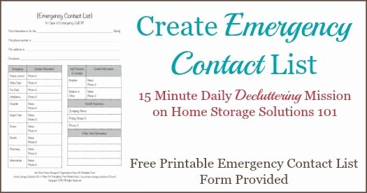 Printable Emergency Contact List Luxury Free Printable Emergency Contact List form
