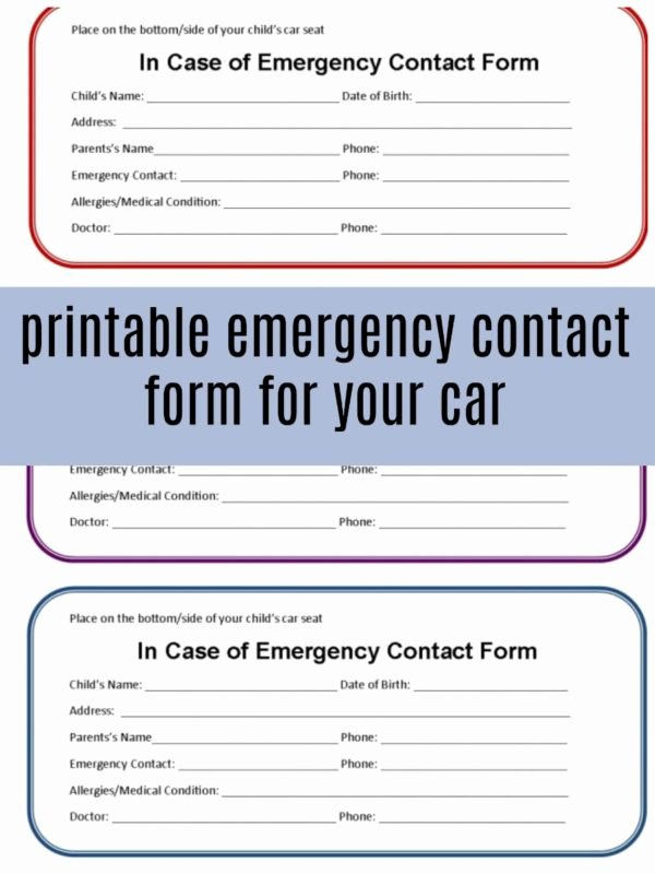 Printable Emergency Contact List Luxury Printable Emergency Contact form for Car Seat Eat Travel
