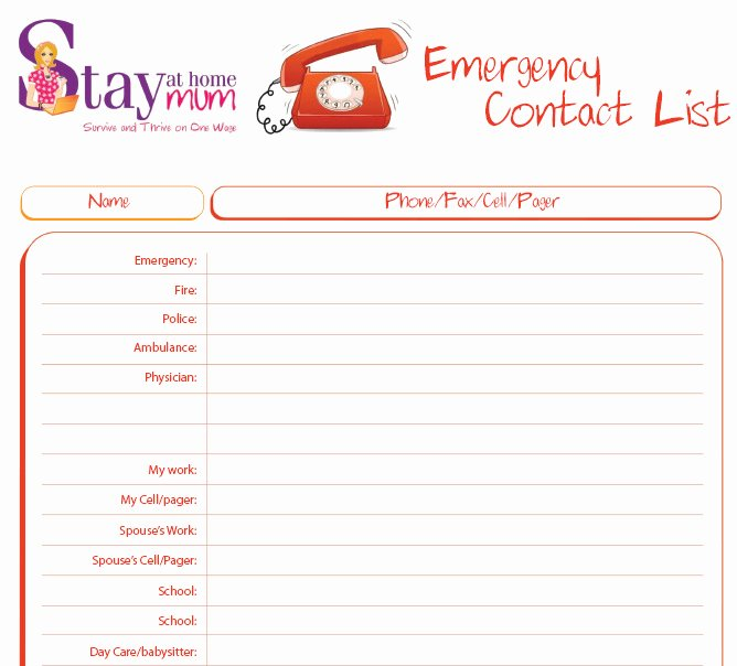 Printable Emergency Contact List New Emergency Contact List Stay at Home Mum