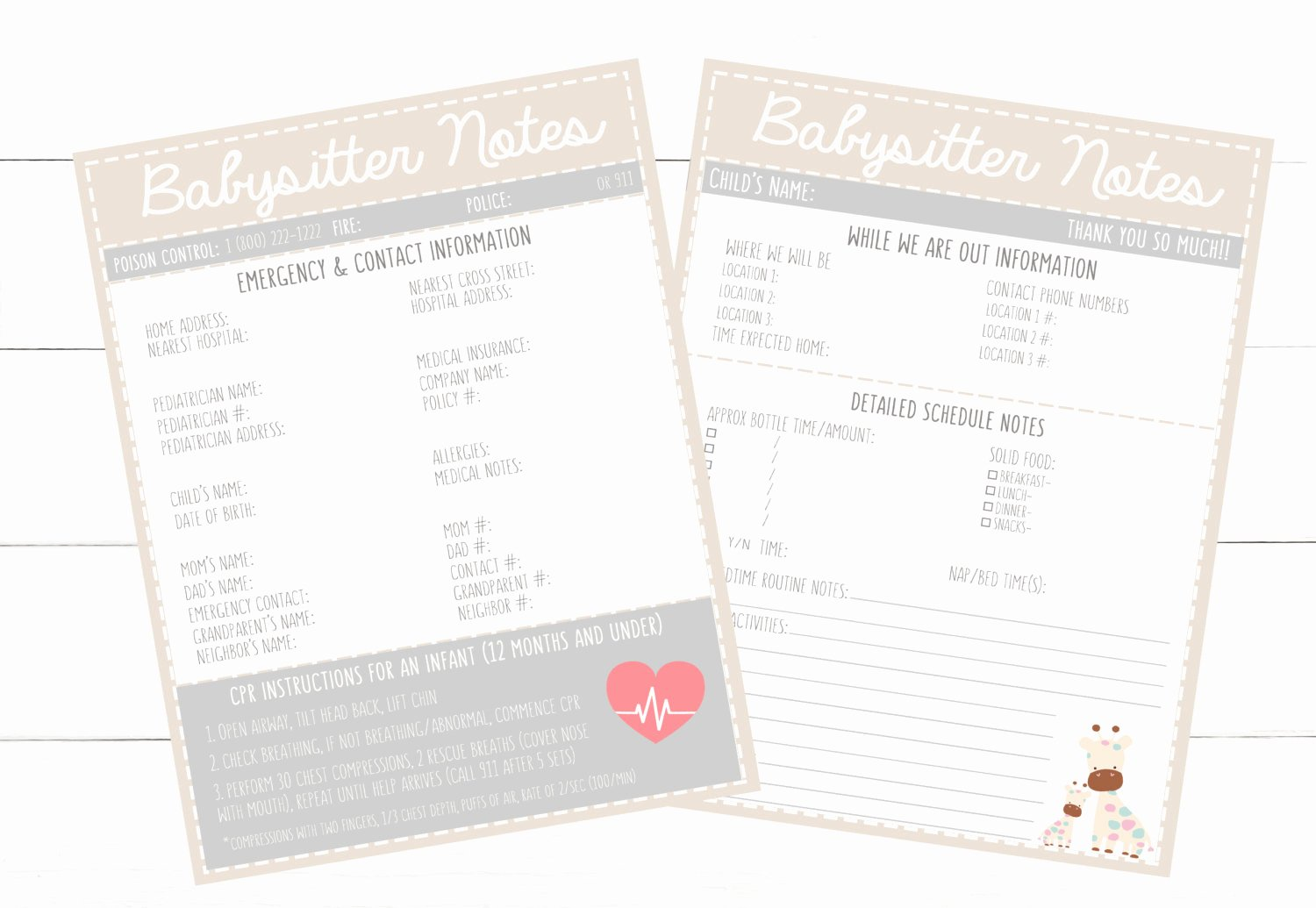 Printable Emergency Contact List New Printable Infant Beige Emergency Contacts & Schedule