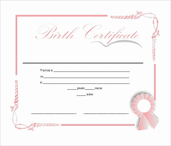 Printable Fake Birth Certificates Awesome Birth Certificate Template Free Download In Doc