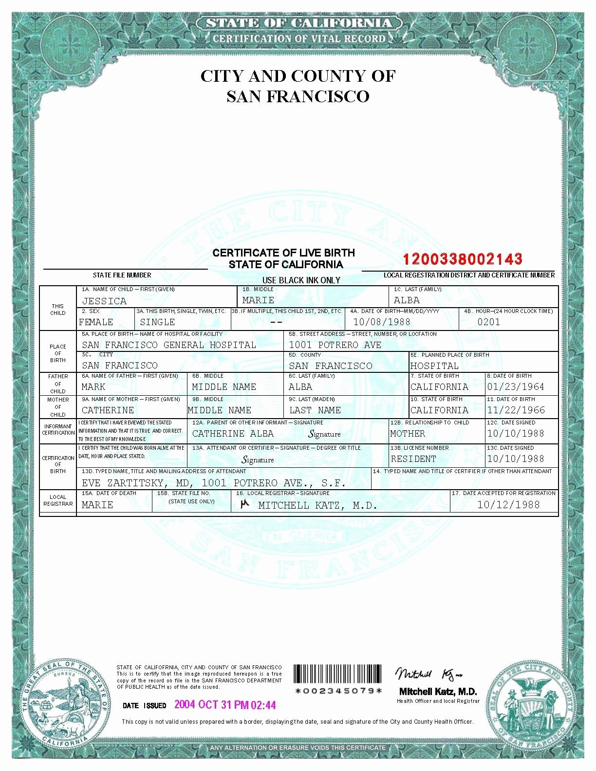 Printable Fake Birth Certificates Best Of San Francisco Birth Certificate Template
