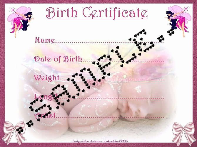 Printable Fake Birth Certificates Inspirational Pink Fairy Birth Certificate Certificates 4 Reborn Fake