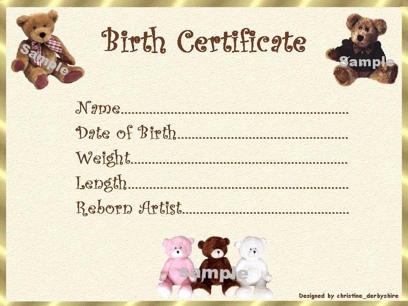 Printable Fake Birth Certificates Lovely Teddy Bear Birth Certificate Certificates 4 Reborn Fake