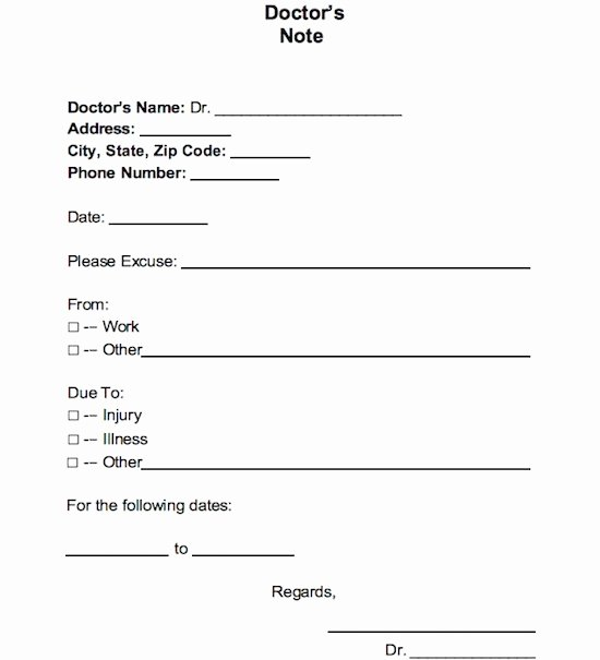 Printable Fake Doctors Notes Luxury Fake Doctors Note for Work
