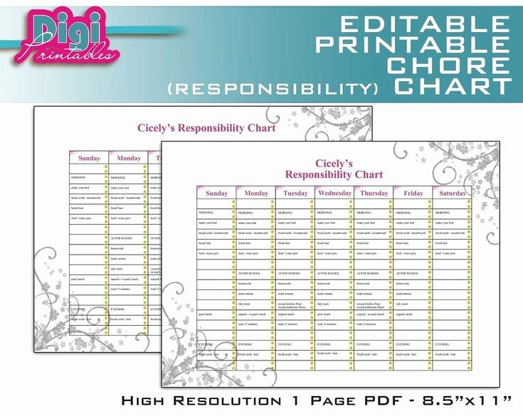 Printable Family Chore Chart Inspirational Editable Printable Chore Chart Responsibility Chart 8