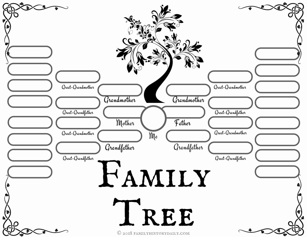 Printable Family Tree Charts Lovely 4 Free Family Tree Templates for Genealogy Craft or