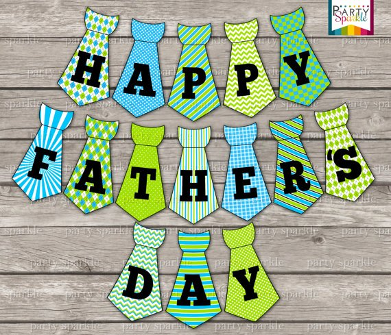 Printable Fathers Day Tie Beautiful Instant Download Happy Father S Day Tie Bunting Banner