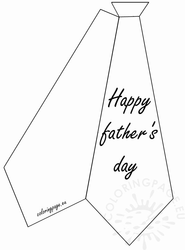Printable Fathers Day Tie Inspirational Greeting Card Happy Father's Day – Coloring Page