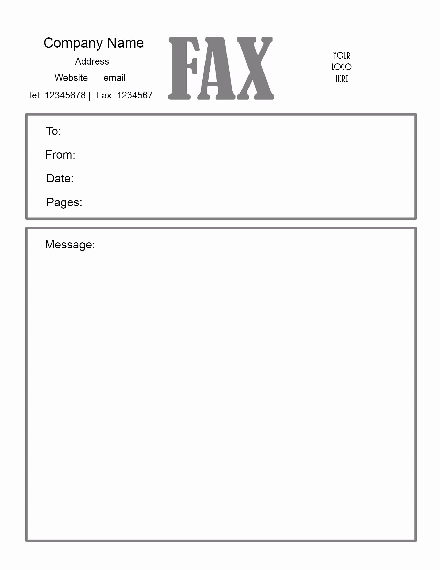 Printable Fax Cover Page Fresh Free Fax Cover Letter Template