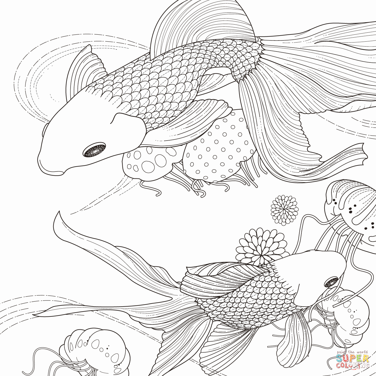 Printable Fish Colouring Pages Elegant Golden Fish Coloring Page