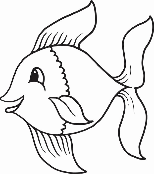 Printable Fish Colouring Pages New Cartoon Fish Coloring Page 1 Templates