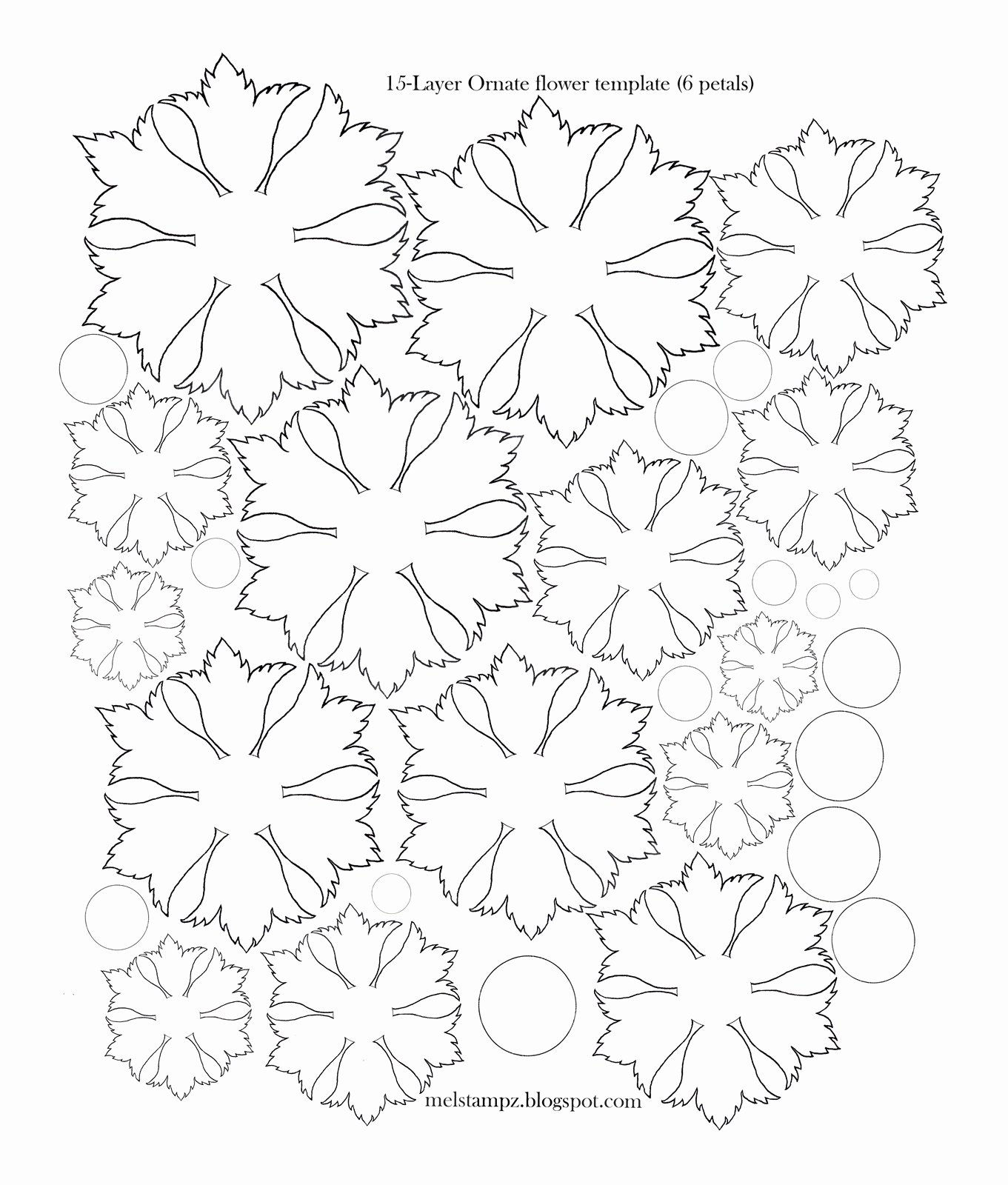 Printable Flower Petal Template Pattern Elegant Mel Stampz 6 Petal ornate Flower Template