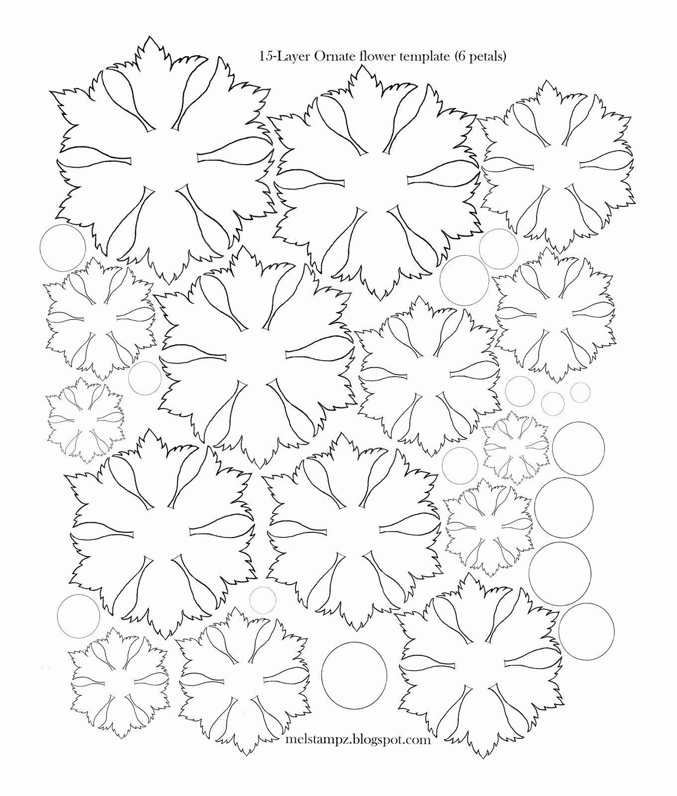 Printable Flower Petal Template Pattern Elegant Mel Stampz 6 Petal ornate Flower Template