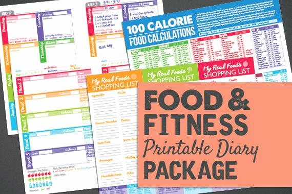 Printable Food Calorie Chart Lovely Printable Food & Fitness Diary Journal by Powersnowdesigns