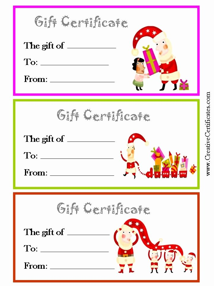Printable Gift Certificates Templates Free Beautiful 3 Printable Christmas T Certificate Templates On One