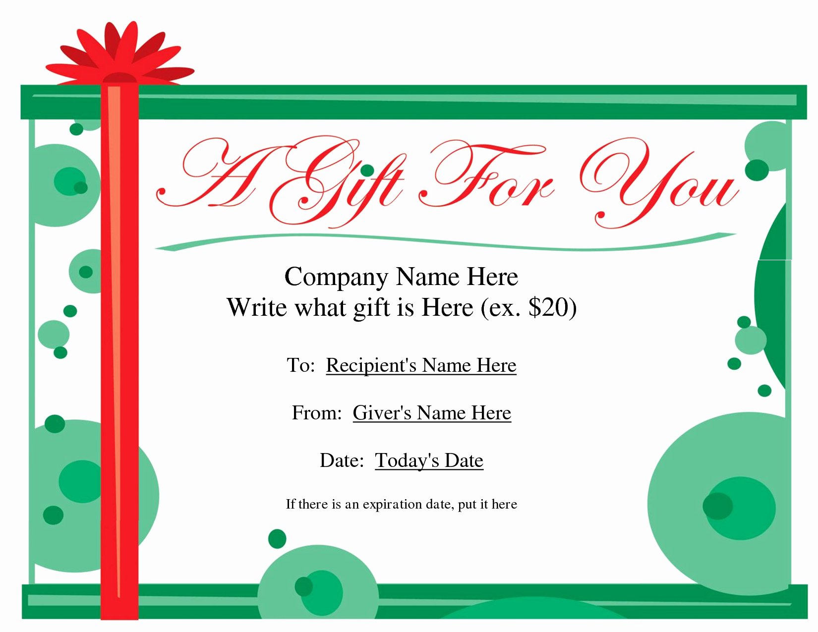 Printable Gift Certificates Templates Free Beautiful Free Printable Gift Certificate Template