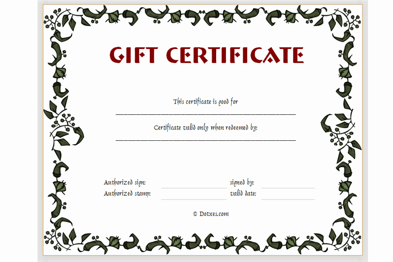 Printable Gift Certificates Templates Free Beautiful Free Printable Gift Certificate Templates Certificate