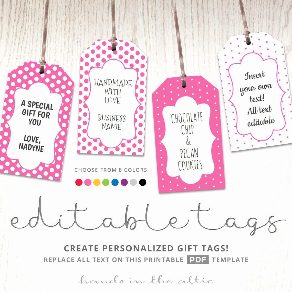 Printable Gift Tag Template Beautiful Editable T Tags T Tag Template Text Editable Polka