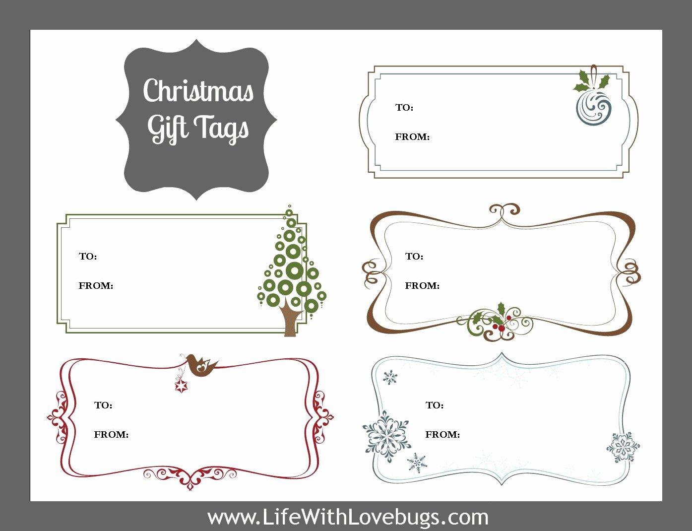 Printable Gift Tag Template Lovely Christmas Gift Tags Printable Life with Lovebugs