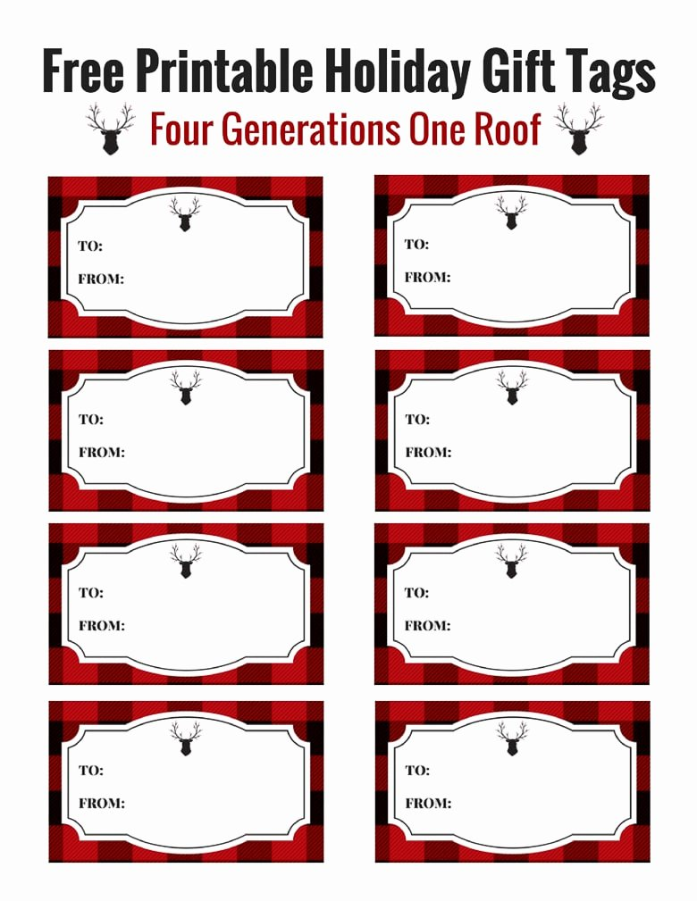 Printable Gift Tags Template Awesome Christmas Gift Tags Printable Four Generations E Roof