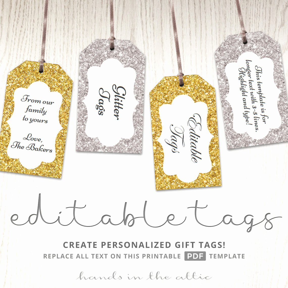 Printable Gift Tags Template Beautiful Glitter T Tags Gold Silver Printable Editable